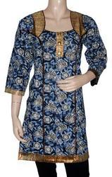 Women's Kurta Top Tunic Dress Cotton With Golden Block Printed Design