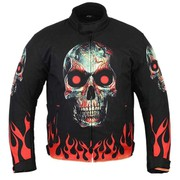 Skull Design Background Red Flame Motorbike Jacket Black