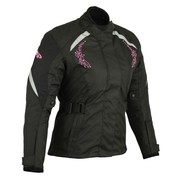 Profirst Motorbike A Star Ladies Textile Jacket Black & Pink Design