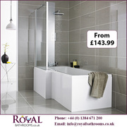 Premier L Shaped Shower Bath with Front Screen and Panel available